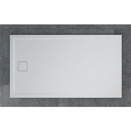 Cadita de dus dreptunghiulara SanSwiss Livada W20A, 80x90 cm slim, marmura sintetica, alb