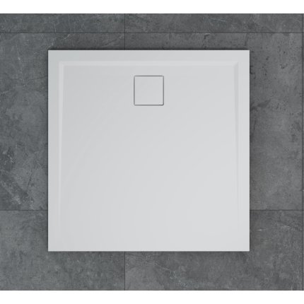 Cadita de dus patrata SanSwiss Livada W20Q, 90x90 cm slim, marmura sintetica , alb