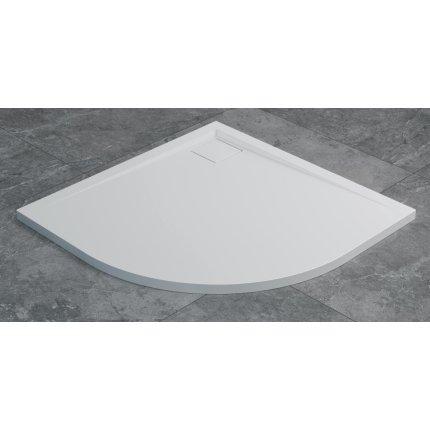 Cadita de dus semirotunda SanSwiss Livada W20A, 90x90 cm slim, marmura sintetica, alb
