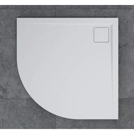 Cadita de dus semirotunda SanSwiss Livada W20A, 80x80 cm slim, marmura sintetica, alb
