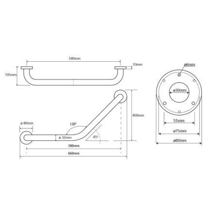 Bara suport ajutatoare unghi 120 grade lungime 58 cm Bemeta Help alb
