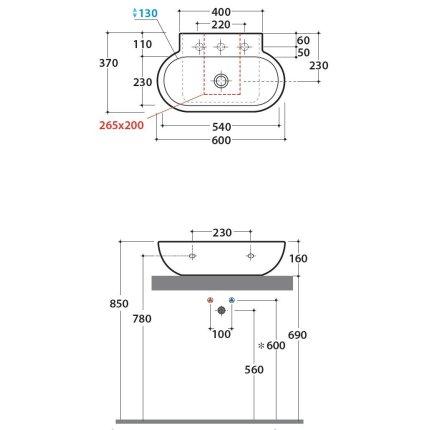 Lavoar Globo Bowl+ 60x37cm, montare pe blat
