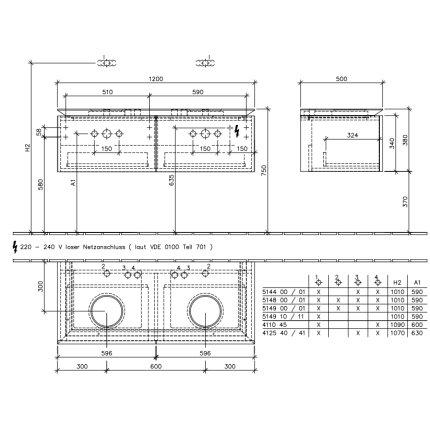 Dulap suspendat cu blat Villeroy & Boch Legato 1200x380hx500 mm Elm Impresso, pentru doua lavoare, iluminare led