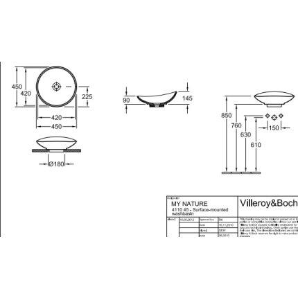 Lavoar tip bol Villeroy & Boch My Nature CeramicPlus 45cm, ventil ceramic, montare pe blat