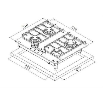 Plita incorporabila gaz Teka CGW Lux 60 4G AI AL CI cristal, 4 ochiuri, gratare fonta, 60cm