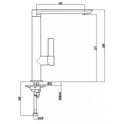 Baterie bucatarie Teka FO 915 NC Black, pipa inalta rotativa