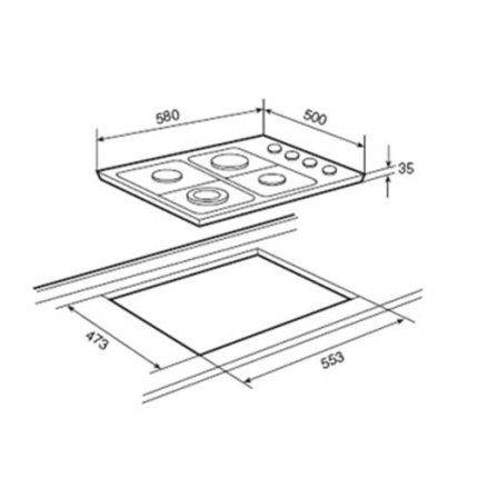 Set Teka inox: cuptor electric Teka HSB 635 71 litri + plita gaz HLX 60 4G AI AL TR 60cm