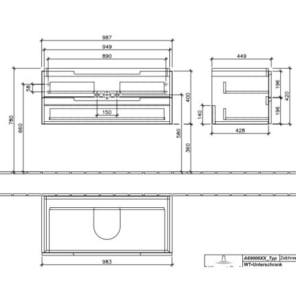 Dulap baza suspendat Villeroy & Boch Subway 2.0 987x420x449 mm Oak Graphite