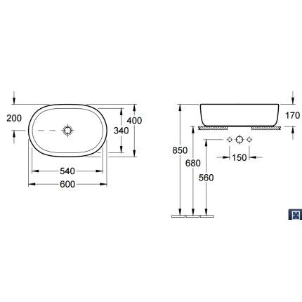 Lavoar tip bol Villeroy & Boch Arhitectura oval 60x40cm, montare pe blat