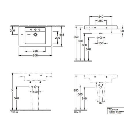 Lavoar Villeroy & Boch Omnia Architectura 80cm, montare pe blat