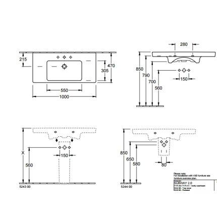 Lavoar Villeroy & Boch Subway 2.0 100x47cm, montare pe mobilier