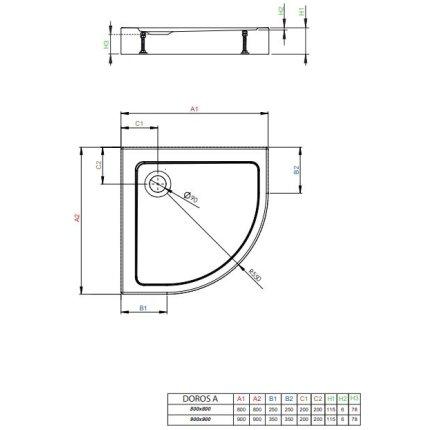 Cadita de dus semirotunda Radaway Doros A Compact 80x80 cm