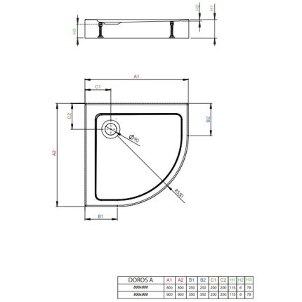 Cadita de dus semirotunda Radaway Doros A Compact 90x90 cm