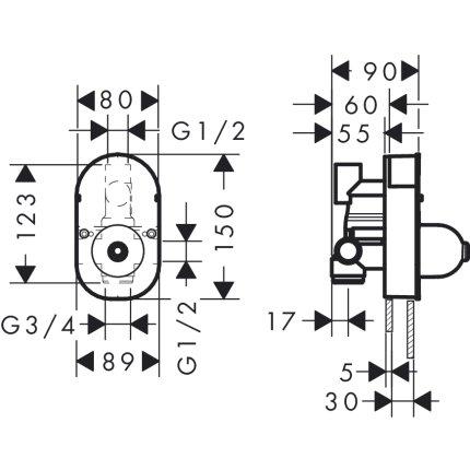 Set baterie cada Hansgrohe Novus cu montaj incastrat, corp ingropat inclus
