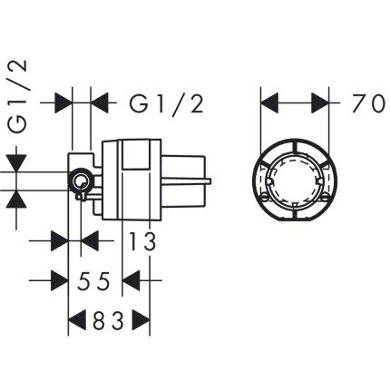 Set baterie dus Hansgrohe Logis cu montaj incastrat, corp ingropat inclus