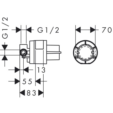 Set baterie dus Hansgrohe Novus cu montaj incastrat, corp ingropat inclus