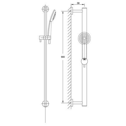 Set dus Steinberg Clarity seria 100, bara 90 cm, furtun 180 cm, para de dus cu 3 functii