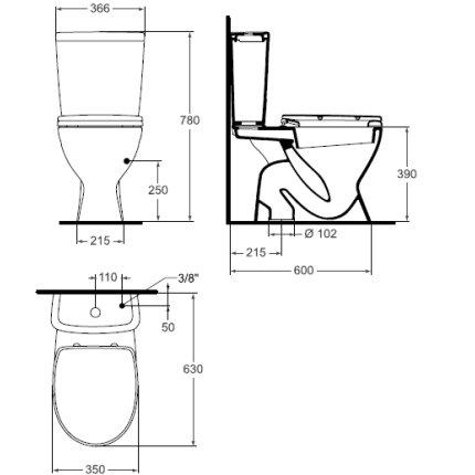 Set vas WC Vidima SevaMix cu rezervor, evacuare verticala