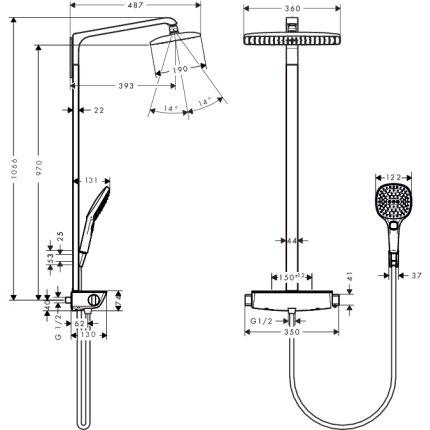 Showerpipe Hansgrohe Raindance Select E360 Ecostat crom, Ecosmart 9L/min