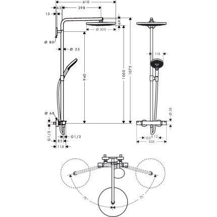Showerpipe Hansgrohe Raindance Select S300 cu 2 tipuri de jet