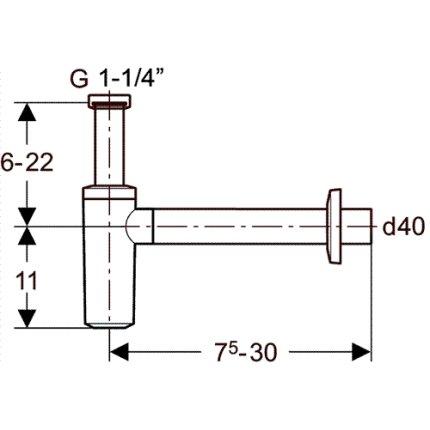 Sifon lavoar Geberit 40 mm, cromat
