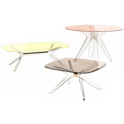 Masuta Kartell Blast design Philippe Starck, 80x80cm, h40cm, crom-galben transparent