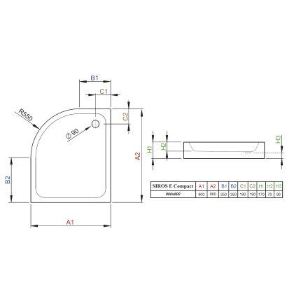 Cadita de dus asimetrica Radaway Siros E Compact 80x90 cm, cu panou integrat si orientare stanga