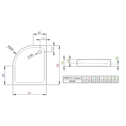 Cadita de dus asimetrica Radaway Siros E Compact 80x90 cm, cu panou integrat si orientare dreapta