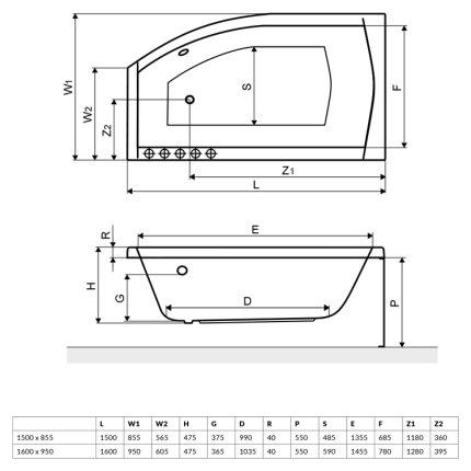 Cada baie asimetrica Radaway Sitera 150x85cm, acril, orientare dreapta