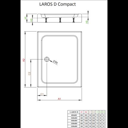 Cadita de dus dreptunghiulara Radaway Laros D 80x90 cm
