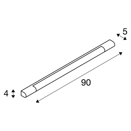 Aplica SLV Trukko, LED 12W, 90cm, IP44, crom-alb