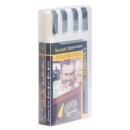 Set 4 markere creta Securit Liquid Medium 2-6mm, alb