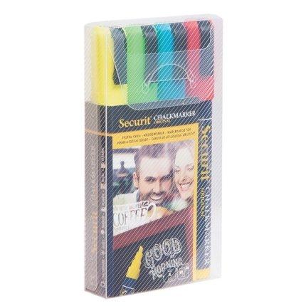 Set 4 markere creta Securit Liquid Medium 2-6mm, albastru, rosu, verde, galben