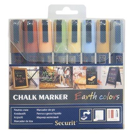 Set 8 markere creta Securit Liquid Medium 2-6mm, asortate Earth