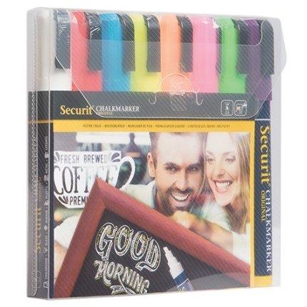 Set 8 markere creta Securit Liquid Medium 2-6mm, asortate Primary