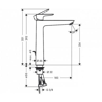 Baterie lavoar Hansgrohe Talis E 240, ventil pop-up, pentru lavoar tip bol, crom