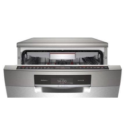 Masina de spalat vase Bosch SMS8YCI01E Serie 8, 14 seturi, 8 programe, 60cm, clasa A+++, sistem de uscare cu Zeolith, silver inox anti-amprenta