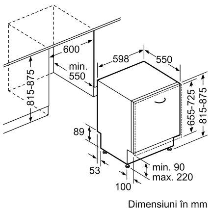 Masina de spalat vase incorporabila Bosch SMV46NX01E Serie 4, 60cm, 13 seturi, clasa A++, ExtraDry