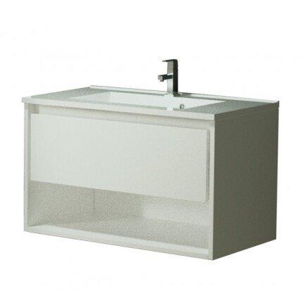 Set mobilier Sanotechnik Soho cu dulap baza suspedat si lavoar compozit 60x48cm, alb lucios