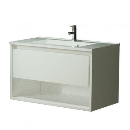 Set mobilier Sanotechnik Soho cu dulap baza suspedat si lavoar compozit 80x46cm, alb lucios