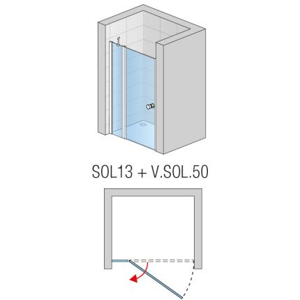 Usa de dus pivotanta cu segment fix SanSwiss Solino SOL13 90cm, sticla securizata 6mm
