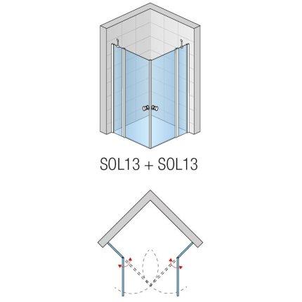 Cabina de dus patrata Sanswiss Solino 90x90cm cu doua usi pivotante,  sticla securizata 6mm