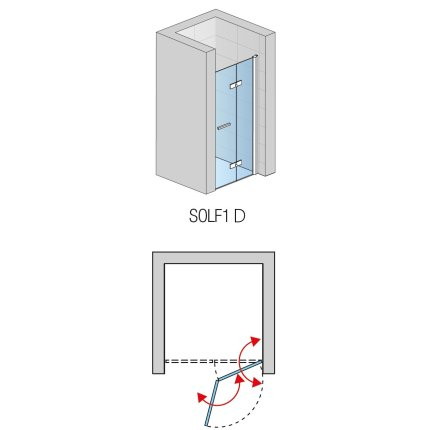 Usa de dus pliabila SanSwiss Solino Black Line SOLF1 80cm dreapta, sticla securizata 6mm