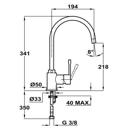 Baterie bucatarie Teka SP 995 Schwarzmetallic, pipa rotativa inalta, finisaj granit