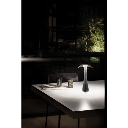 Veioza Kartell Space design Adam Tihany, LED, 15x30cm, titanium metalizat