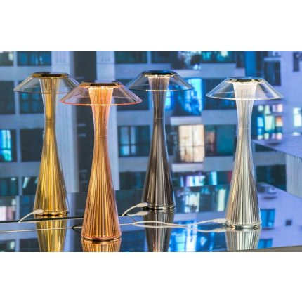 Veioza Kartell Space design Adam Tihany, LED, 15x30cm, titanium metalizat