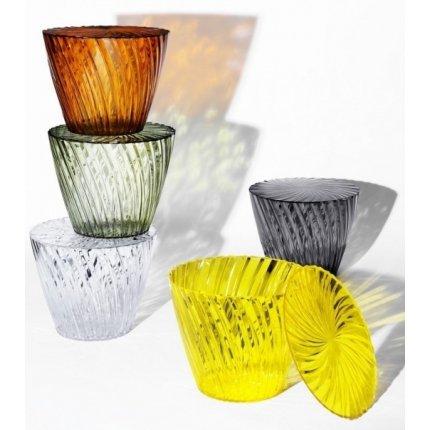 Masuta Kartell Sparkle design Tokujin Yoshioka, diametru 45cm, h 35cm, fumuriu transparent