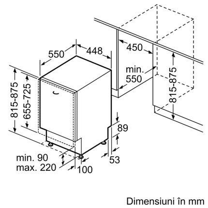 Masina de spalat vase incorporabila Bosch SPV6EMX11E Serie 6, 10 seturi, 6 programe, 45cm, clasa A++, TimeLight, EfficientDry