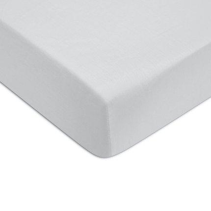 Cearceaf de pat cu elastic Descamps Unis Satin 90x200cm, Bleu-Gri