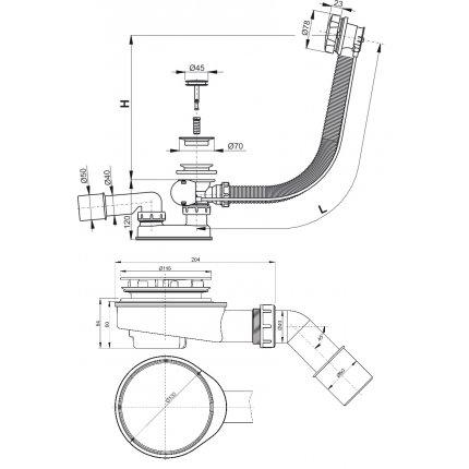 Sifon cu preaplin automat universal cada Besco